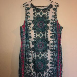 London Times Sleeveless Multicolored Pattern Dress